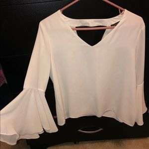 Womens White Bell Sleeve Top